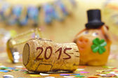 Champne cork and talisman in marzipan for new year 2015 — Stock Photo