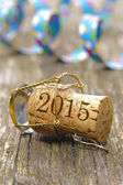 Champagne cork marked with year 2015 — Stock Photo