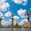 Cranes - old shipyard - Stock Photo