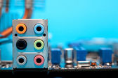 Audio output on motherboard — Stock Photo