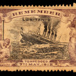 Post stamp in memory of sinsking of the Lusitania passenger liner — Stock Photo