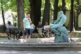 Belgrade, Serbia. Fountain with a man sculpture — Stock Photo