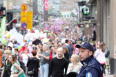 On the summer gay parade in Helsinki, Finland — Stock Photo