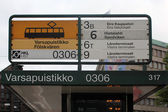 Timetable on the tramway stop in Helsinki, Finland — Stock Photo