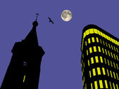 Church bell tower and business center at the moon background with bird — Foto de Stock