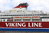 """Big ferry boat """"Viking Line"""" stays in the seaport of Helsinki, Finland — Stock Photo"""