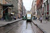 Tramway on the street in Helsinki, Finland — Stockfoto