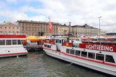 Helsinki, Finland. Ferry boat in the seaport — Stock Photo