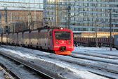 Commuter train arrives to Moscow — Stock Photo