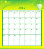 Calendar 2013 July — Stock Vector