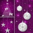 Stock Vector: Christmas balls, tree and stars