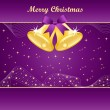 Gold christmas bells on purple — Stock Vector