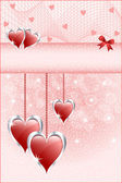 Red love hearts and bow — Vector de stock