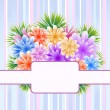 Stock Vector: Flowers on striped background