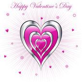 Valentine hearts with sunburst background — Stock vektor