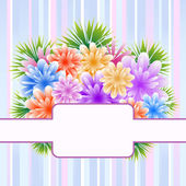 Flowers on striped background — Stock Vector
