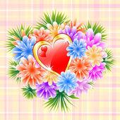 Bouquet de fleurs avec le coeur rouge amour — Vecteur