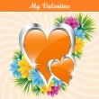 Orange love hearts and flowers — Stock Vector