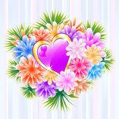 Ramo de flores con corazón púrpura amor — Vector de stock
