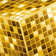 Abstract cube with metallic grid — Image vectorielle