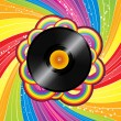 Vinyl record on rainbow circles with abstract rainbow swirls and stars — Vector de stock