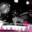 Royalty-Free Stock  : Grunge abstract music background with turntable and sparkling silver disco ball