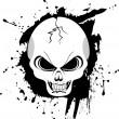 mal agrietado cráneo blanco y negro sobre un fondo negro grunge — Vector de stock