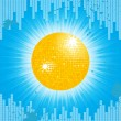 Royalty-Free Stock Vector Image: Sparkling orange disco ball on a blue grunge background with equalizer and light bursting out from behind
