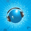 Sparkling blue disco ball wearing headphones with stars bursting out behind — Stock Vector
