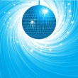 Sparkling blue disco ball on a blue and white swirl background with stars bursting out from behind — Stock Vector