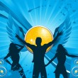 Silhouette dancing in front of winged disco ball with blue speakers and grunge - 图库矢量图片