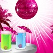 Tropical party scene with palm trees, disco ball and tray with cocktails — Stock Vector #12634764