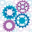 Vector background with glossy interlinked cogs in subtle colours - Stock Vector