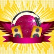 Pink disco ball with headphones, speakers and wings on a yellow star burst background — Stock Vector