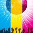 Sparkling disco ball and crowd split across three colored banners — Stockvektor