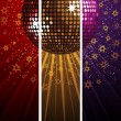 Sparkling disco ball and crowd split across three colored banners — Stock Vector #12634907