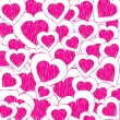 Abstract valentine background with pink doodled hearts — Vector de stock