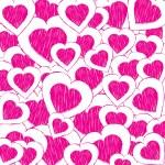 fondo abstracto de San Valentín con corazones rosas doodled — Vector de stock