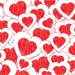 Abstract valentine background with pink doodled hearts — ストックベクター #12634934