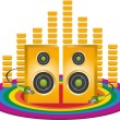 Funky music background with yellow speakers and jacks on a rainbow circle with 3D equaliser — Stock Vector