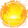 Tropical frame, sunset on the beach, vector illustration, EPS file included — ベクター素材ストック