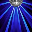 Silver mirror ball and disco lights — Stock Vector
