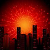 Scena di città di notte con la luce che esplode da dietro — Vettoriale Stock