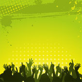 Silhouette crowd partying in front of abstract grunge green and yellow background — Stock Vector