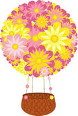 Hot air balloon made of bright flowers with flowered robes and wicker basket — Stock Vector