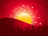 Sun setting in a swirling sky behind wild landscape with stars — Vector de stock