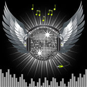 Silver mirror ball with headphones and wings on a black background with white light bursting out from behind — Stockvektor