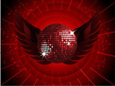 Abstract red disco ball with wings — Stock Vector
