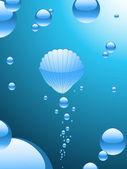 与有光泽的泡沫和中央壳泡沫抽象气泡背景 — 图库矢量图片