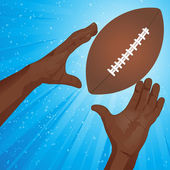 Pair of hands reaching to catch an American football — Stock Vector